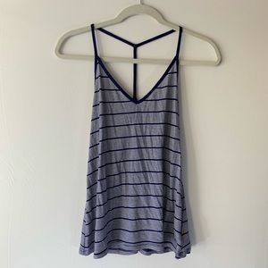 Volcom Blue and White Striped V Neck Tank Top